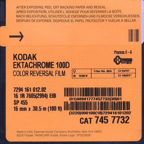 Kodak Ektachrome 100d 16mm 30 5m 100ft